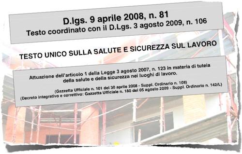 Decreto Legislativo 81/08 Aggiornato a Marzo 2011